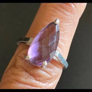 Pear-shaped amethyst sterling silver 925 ring